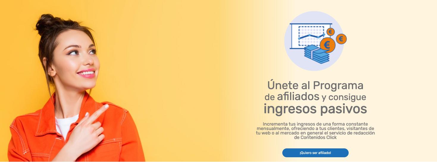 Contenidos Click entra en el Marketing de Afiliados para aquellos que desean ingresos pasivos recurrentes.
