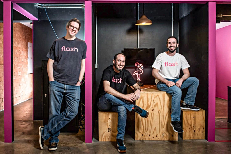 Ricardo Salem, Pedro Lane y Guilherme Lane, cofundadores de Flash.